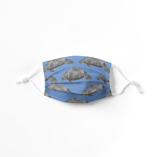 Manatees Sea Cows Pattern Blue Kids' Cloth Face Mask