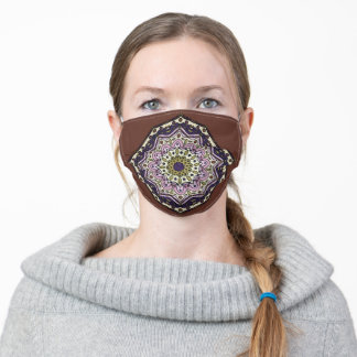 Mandala Design with Brown Adult Cloth Face Mask