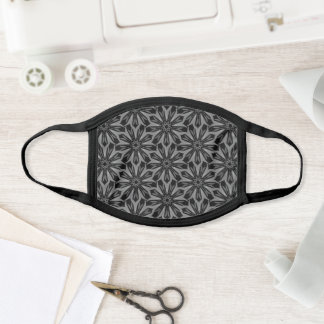 Mandala Flower Grey Floral Pattern Elegant Pretty Face Mask