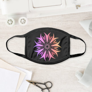 Mandala Flower Purple & Black Floral Cool Trippy Face Mask