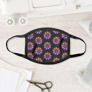 Mandala Flower Purple Black Floral Pattern Trippy Face Mask