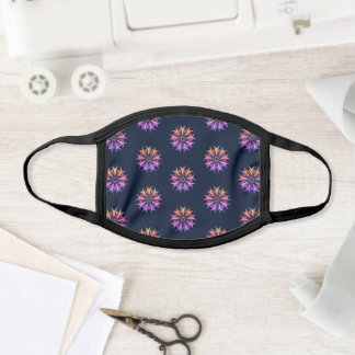 Mandala Flower Purple Navy Floral Pattern Trippy Face Mask
