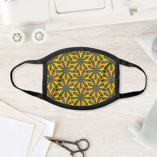 Mandala Flower Yellow Floral Pattern Classy Pretty Face Mask