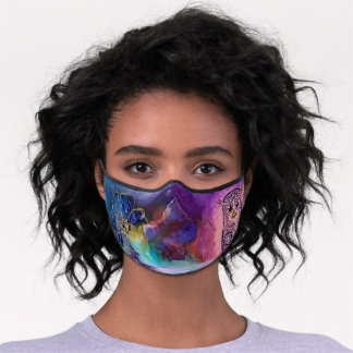 Mandala owl with golden flower and colorful fluid  premium face mask