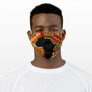 Map Of Africa & African Print Adult Cloth Face Mask
