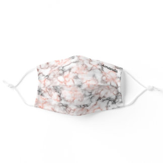 Marble Pink Gray with Your Name Adult Cloth Face Mask