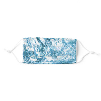 Marbled Abstract Design | Blue and White Adult Cloth Face Mask