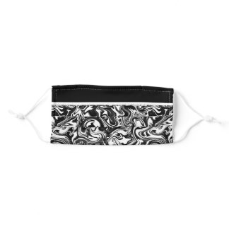 Marbled B&W with Transparent Background Adult Cloth Face Mask