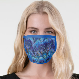 MARBLED PAPER,ABSTRACT BLUE PEACOCK PATTERN FACE MASK