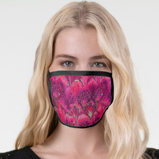 MARBLED PAPER,ABSTRACT PINK PEACOCK PATTERN FACE MASK
