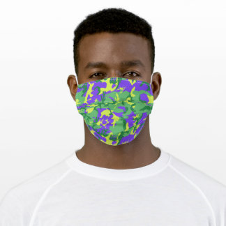 Mardi Gras Camo Camouflage Pattern Adult Cloth Face Mask