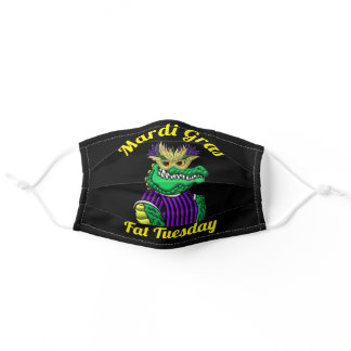 Mardi Gras Gator Fat Tuesday Party Adult Cloth Face Mask