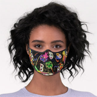 Mardi Gras Ready For The Party Colorful Premium Face Mask