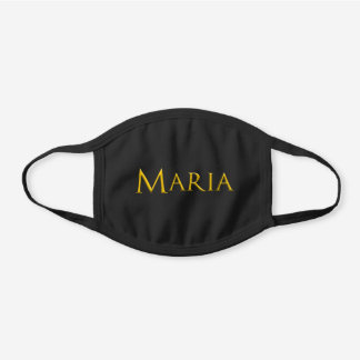 Maria Woman's Name Black Cotton Face Mask