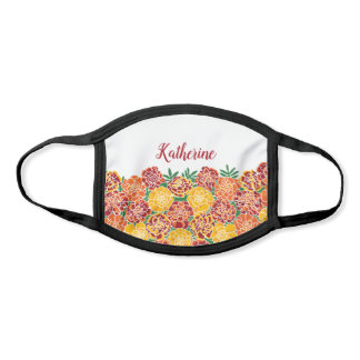 Marigold Bright Floral Add Your Name Face Mask