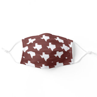 Maroon and white College Station Texas mask Aggies