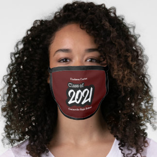 Maroon Bold Brush Class of 2021 Face Mask