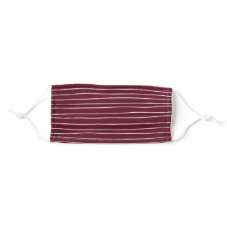 Maroon/Burgundy and White Stripes Adult Cloth Face Mask