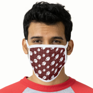 Maroon Football Grid Patterned Face Mask