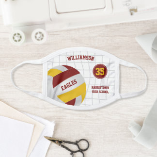 maroon gold school club team colors volleyball face mask