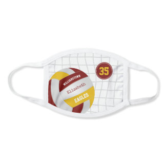 maroon gold school team colors girls volleyball face mask
