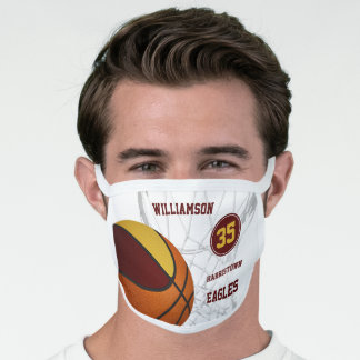 maroon gold team colors personalized basketball face mask