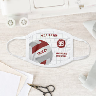 maroon gray school club team name volleyball face mask
