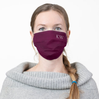 Maroon, Magenta or Cassis Purple with Initials Adult Cloth Face Mask