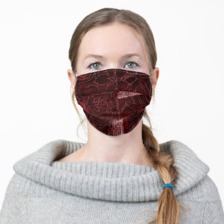 Maroon Patchwork Fabric Texture Face Mask