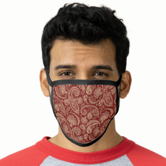 Maroon Red Floral Paisley Face Mask