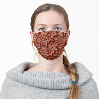 Maroon Red Paisley Adult Cloth Face Mask