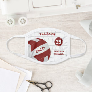 maroon white school club team colors volleyball face mask