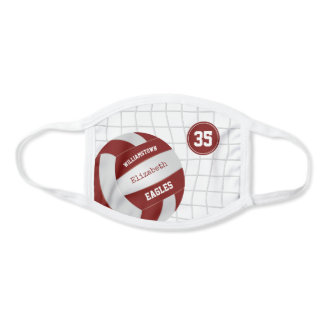 maroon white school team colors girls volleyball face mask