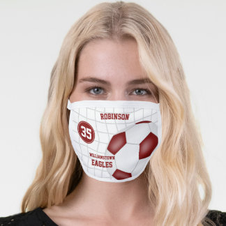 maroon white team colors player name soccer face mask