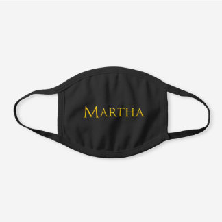 Martha Woman's Name Black Cotton Face Mask