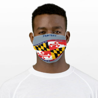 Maryland Flag w/ Stars Stripes on Cool Grey Adult Cloth Face Mask