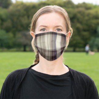 Masculine brown, grey, blue plaid washable adult cloth face mask