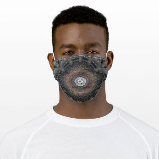 Masculine Grey and Rust Silver Simplicity Mandala Adult Cloth Face Mask