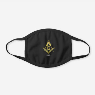 Masonic Gold Square Compass | Monogram Freemason Black Cotton Face Mask