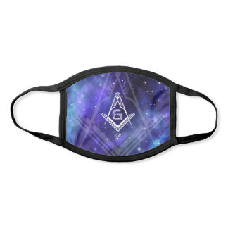 Masonic Square and Compass Navy Blue Purple Galaxy Face Mask