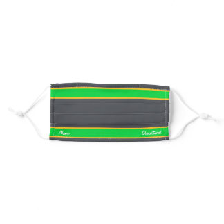 [Match Your Uniform] Steel Gray w/ Green Stripes Adult Cloth Face Mask