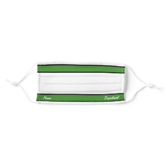 [Match Your Uniform] White Bright Green Stripes Adult Cloth Face Mask