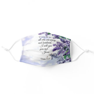 Matthew 11:28 Come to Me all who are Weary Lilacs Adult Cloth Face Mask