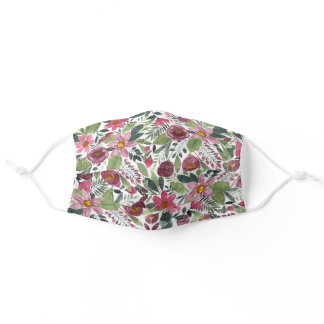 Mauve Pink Forest Green Watercolor Flowers Leaves Adult Cloth Face Mask