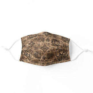Mayan glyphs and ornaments pattern -black on gold adult cloth face mask