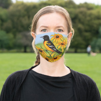 MD State Bird Oriole & Black-eyed Susan Flower Adult Cloth Face Mask