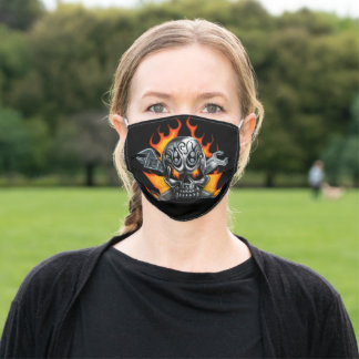 Mechanic Wrenches Flame Skull Adult Cloth Face Mask