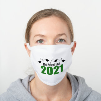 Med School Grad 2021 Caps And Diplomas (Green) White Cotton Face Mask
