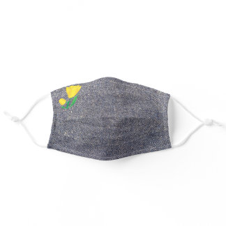 Medium Blue Denim Background With Yellow Tulip Adult Cloth Face Mask