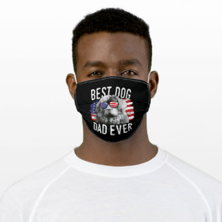 Mens American Flag Best Dog Dad Ever Newfoundland Adult Cloth Face Mask